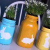 Mason Jar centerpiece spray painted