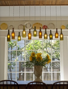 Make a chandelier from wine bottles