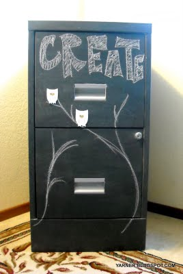Chalkboard paint on a filing cabinet