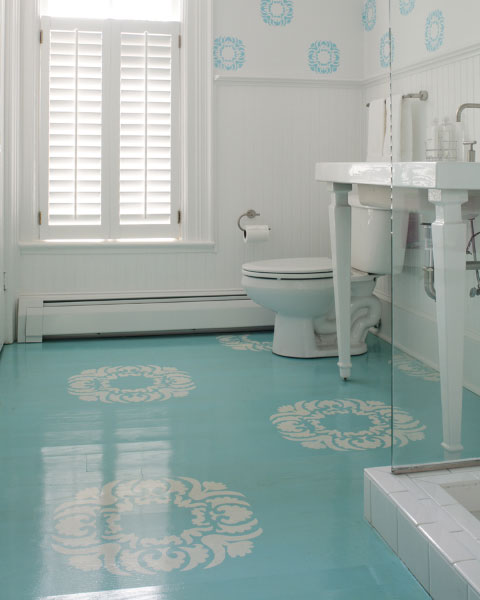 glossy blue floor in cottage bathroom