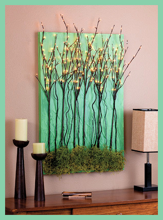 lighted branch wall art DIY