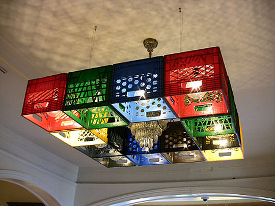 Light fixture made of repurposed crates