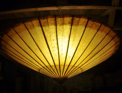 DIY hanging umbrella light