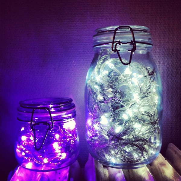 mason jars with Christmas lights