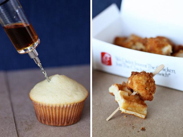 Unique Dessert  chicken & waffle cupcakes