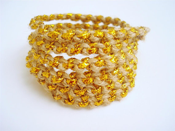 hemp and gold cuff bracelet
