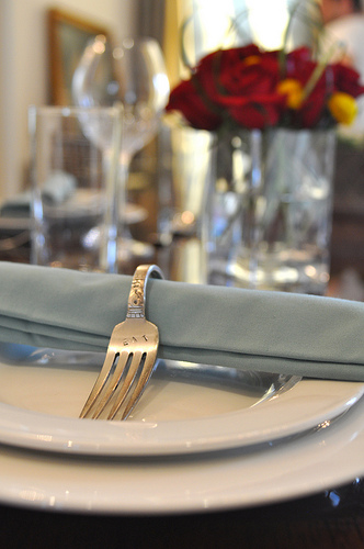 Make napkin rings out of forks