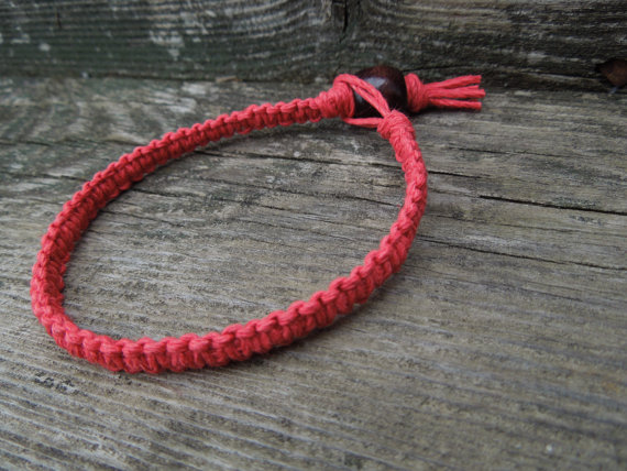 Red hemp bracelet from etsy