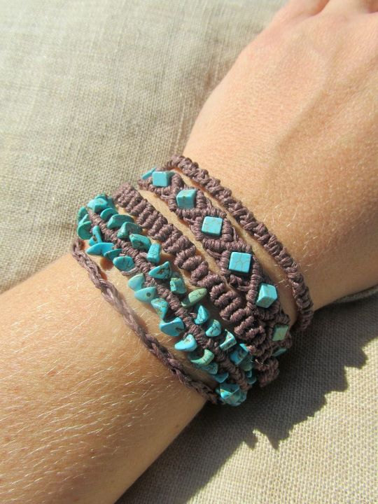 turquoise and hemp cuff bracelet on etsy