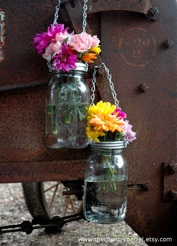 Hanging mason jar vases and lanterns