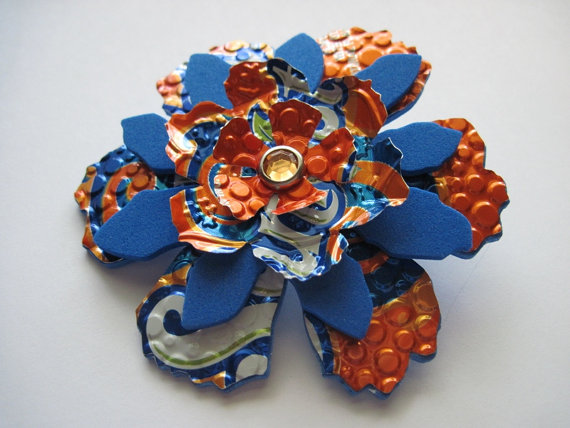 Upcycled orange pin