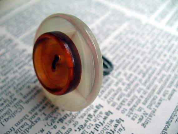 Orange upcycled ring on etsy