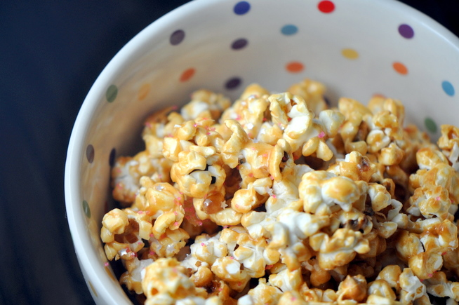 cake batter popcorn recipe made with cake mix