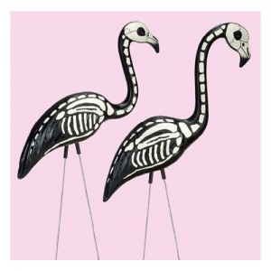 Halloween skeleton flamingos