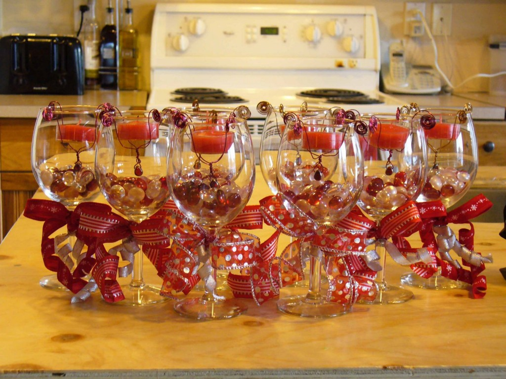 Lots of wine glass centerpiece ideas on Momcaster.