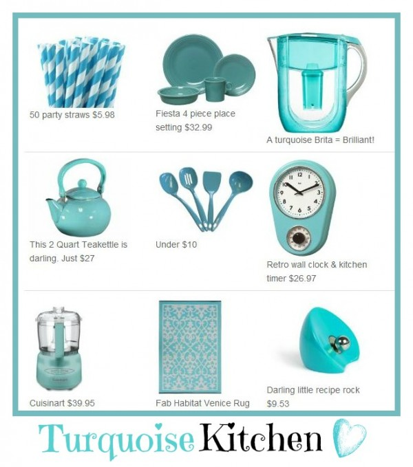 Gotta LOVE a turquoise kitchen. So yummy! www.Momcaster.com