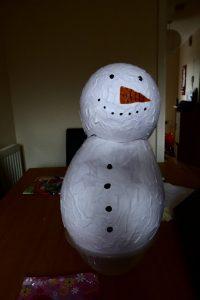 Paper Mache Balloon Snowman