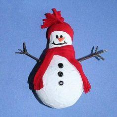 Paper Mache Light Bulb Snowman