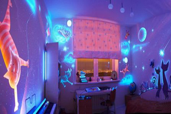 Little girl's room with glow in the dark paint