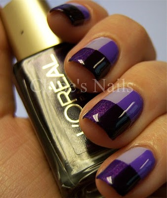 Shades of purple fingernail art