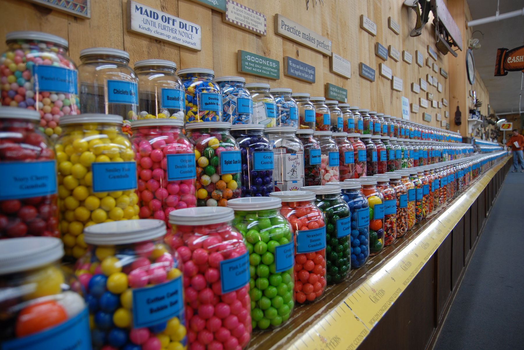 world's longest candy jar counter
