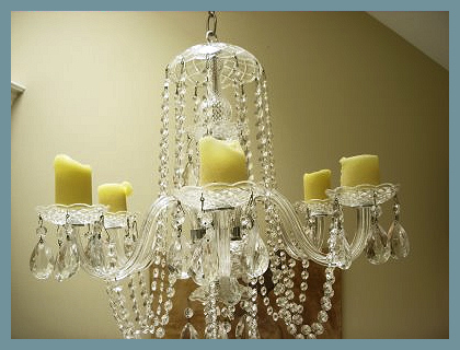 Candle chandelier in bathroom