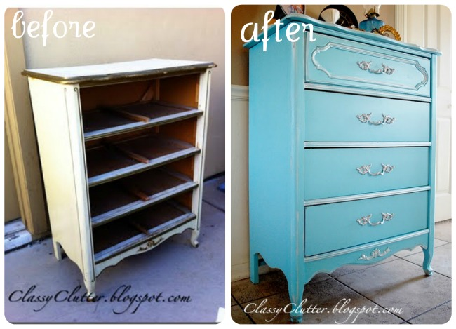 dresser makeover to shabby worn blue