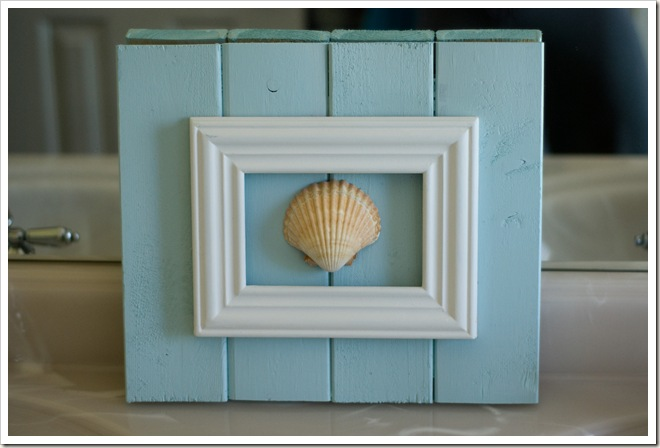 Framed seashell for cottage bathroom