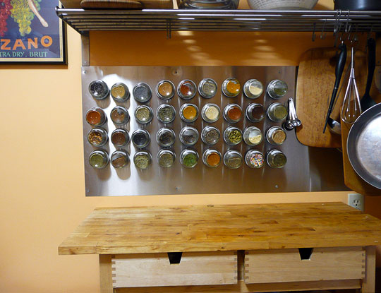 DIY wall mounted spice rack craft from Kitchn