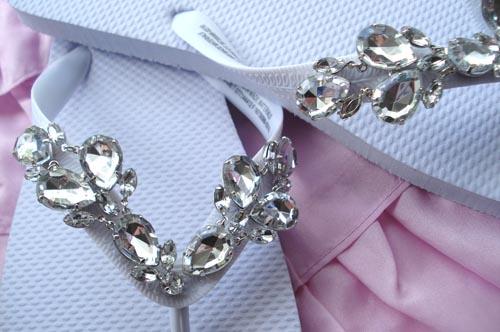 Make jewel flip flops