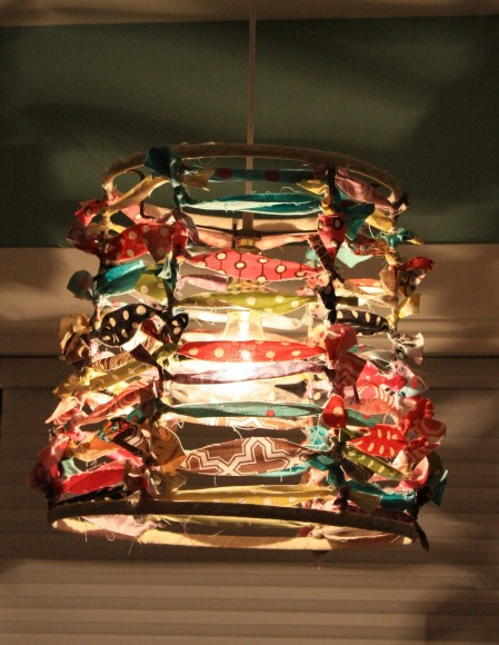 Makeover lamp shade with fabric scraps