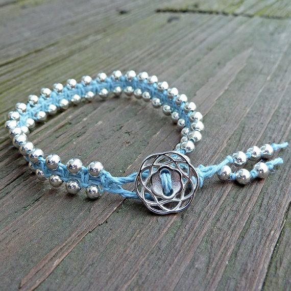 blue silver hemp bracelet