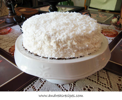 Coconut cake with boiled icing for Mother's Day