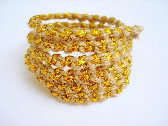 hemp and gold cuff bracelet