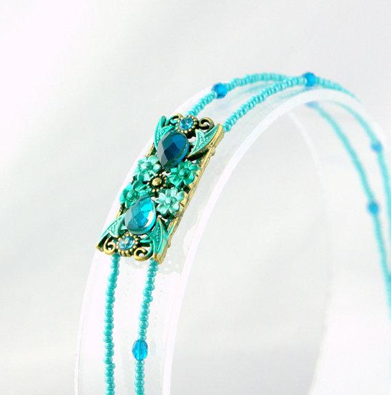 Cockatoo blue headband with rhinestones