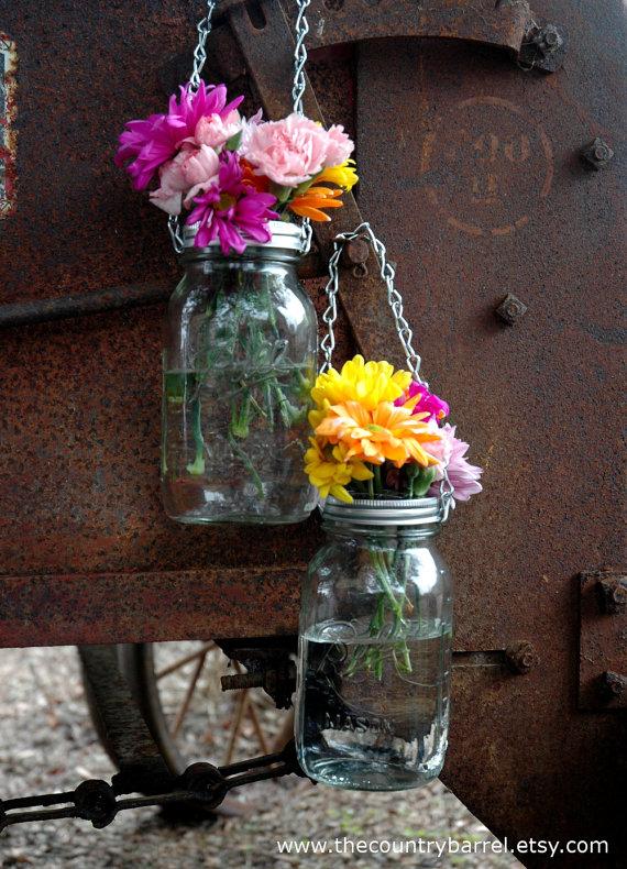 Hanging mason jar vases and lanterns