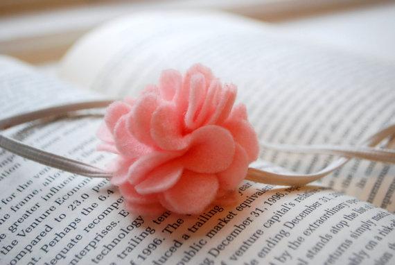 Pink & white toddler headband