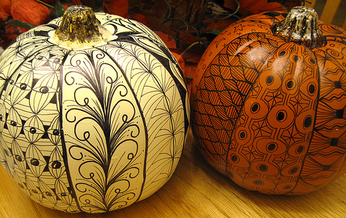 Pumpkins decorated with Sharpies