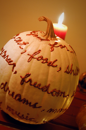 decorate a pumpkin with words and paint