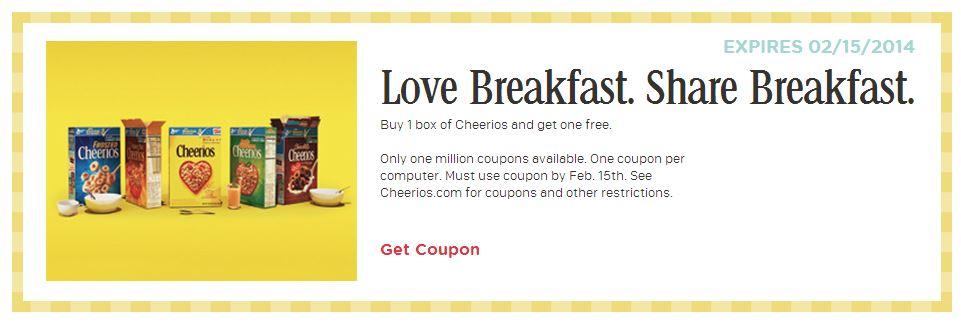 Buy a box of Cheerios - get a box FREE.